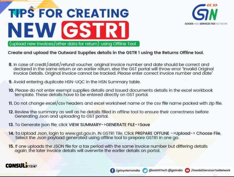 Tips for creating GSTR 1 using offline tool - CONSULTEASE COM