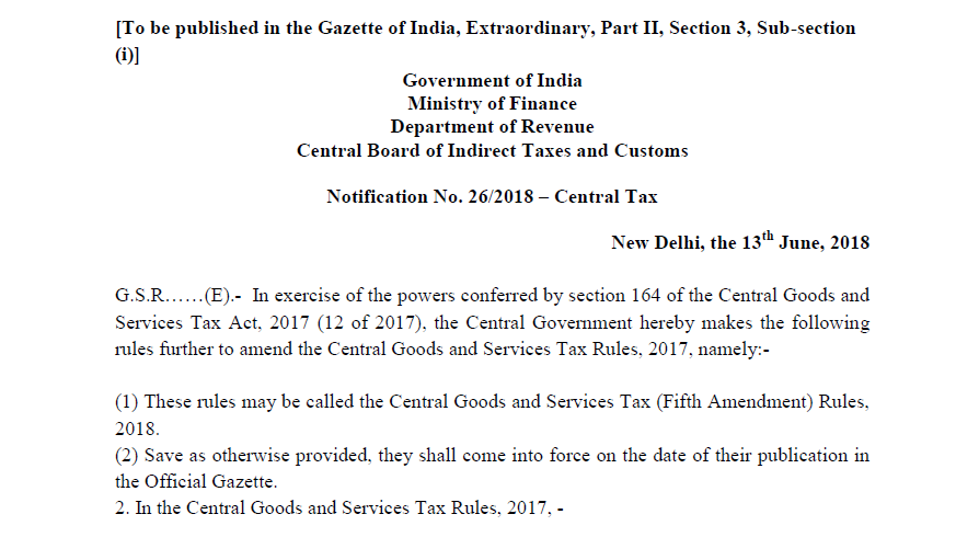 Notification No  26/2018 – Central Tax - CONSULTEASE COM