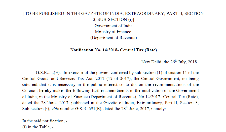 Notification No. 14/2018- Central Tax (Rate)