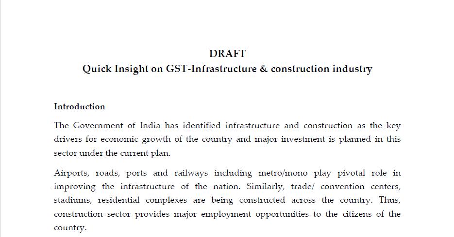 Infrastructure & construction industry under GST