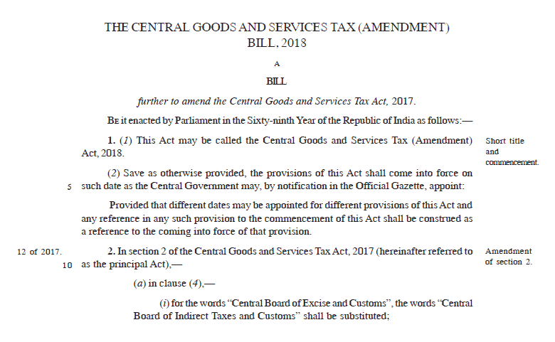 The Central Goods and Services Tax (Amendment) Bill, 2018