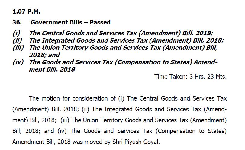 GST (Amendment) Bill, 2018