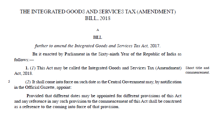 The Integrated Goods and Services Tax (Amendment) Bill, 2018