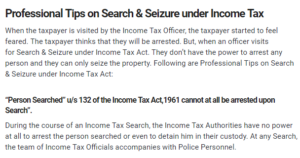 Tips on Search & Seizure under Income Tax - CONSULTEASE COM