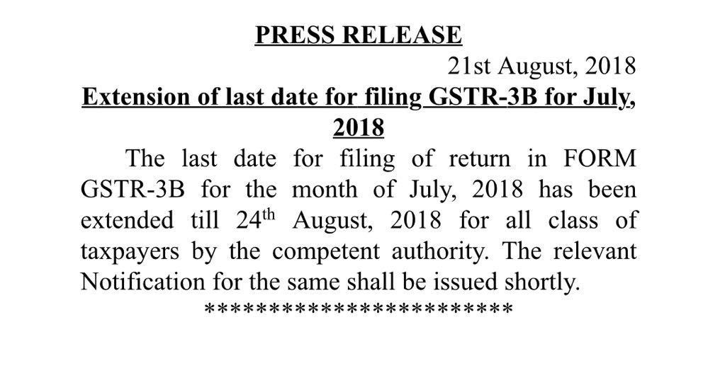 Date for Filing GSTR-3B Extends till 24 August 2018