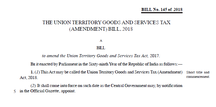 The Union Territory Goods and Services Tax (Amendment) Bill, 2018