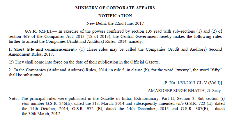 Companies Act, 2013 – Rotation of auditors for Private Companies