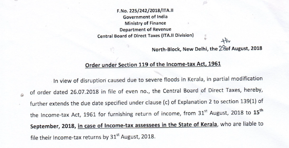 Extension of date for filing ITR in the State of Kerala
