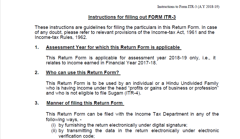 Update on Instructions for filling out Form ITR-3