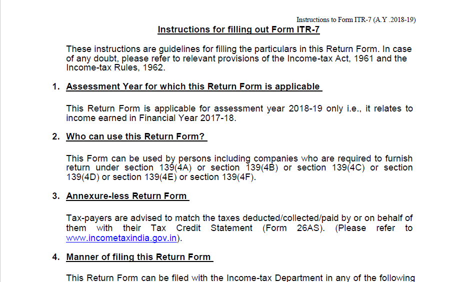 Update on Instructions for filling out Form ITR-7