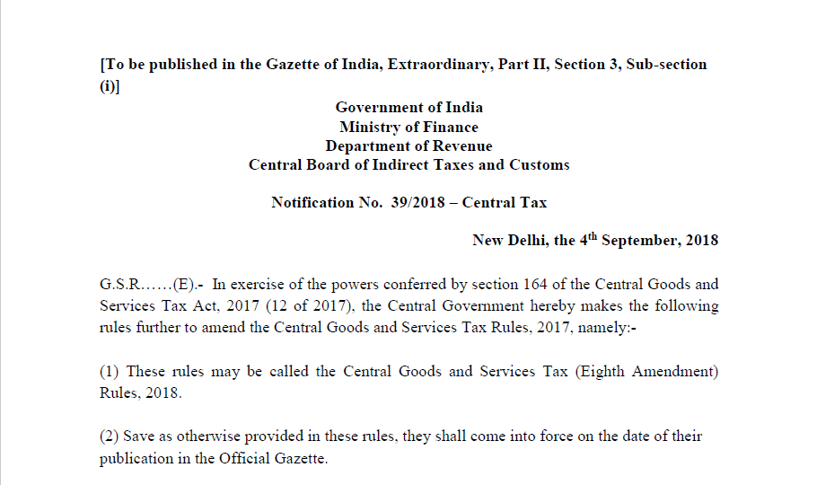 Notification No  39/2018 – Central Tax - CONSULTEASE COM