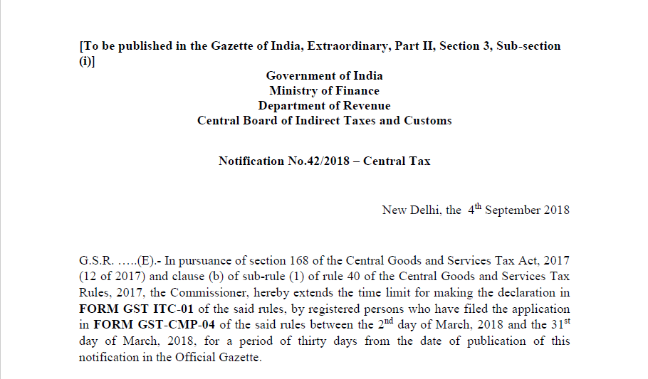 Notification No.42/2018 – Central Tax