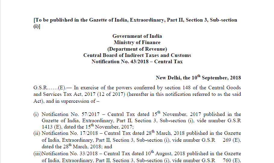 Notification No  43/2018 – Central Tax - CONSULTEASE COM