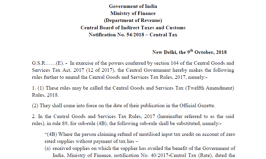 Notification No  54/2018 – Central Tax - CONSULTEASE COM