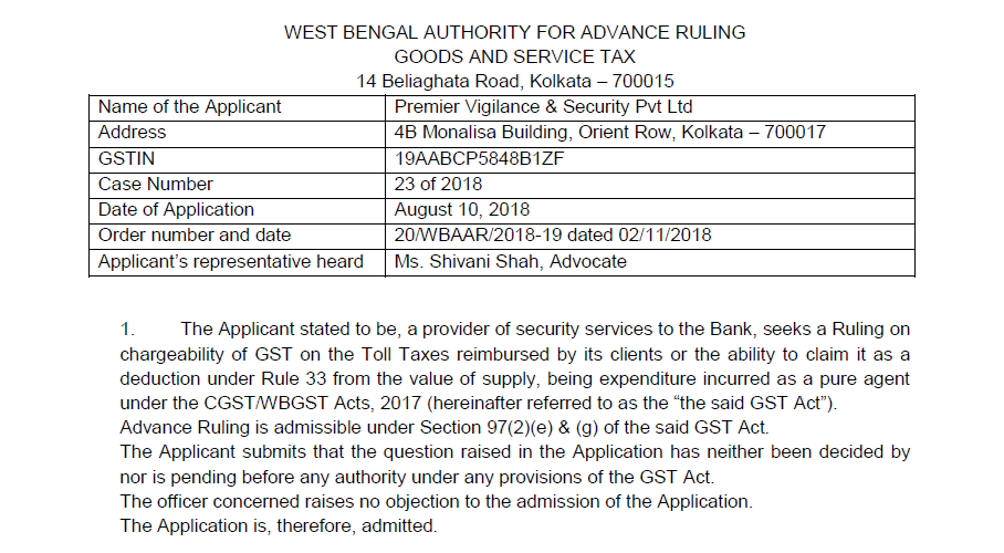 GST Case 1-Premier Vigilance & Security (P.) Ltd.