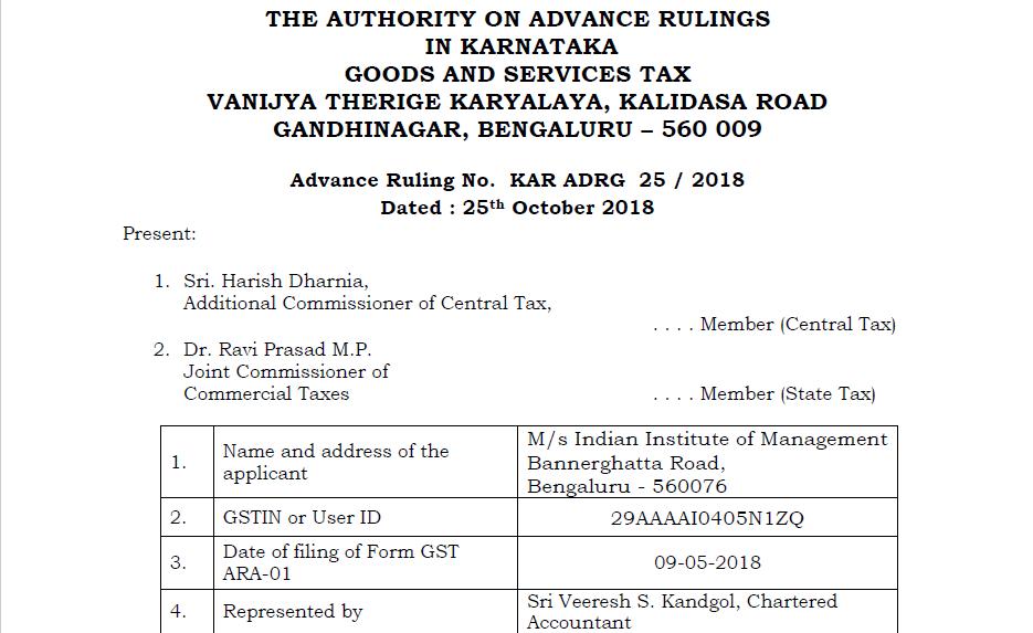 Original order of GST AAR of M/s Indian Institute of Management