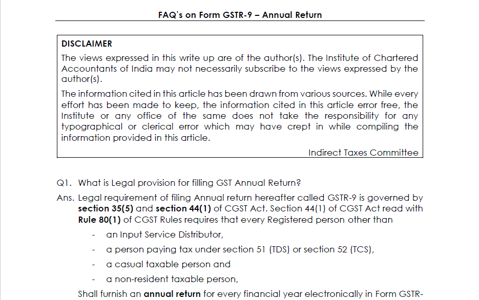 FAQs on GSTR-9 by Indirect Tax Committee