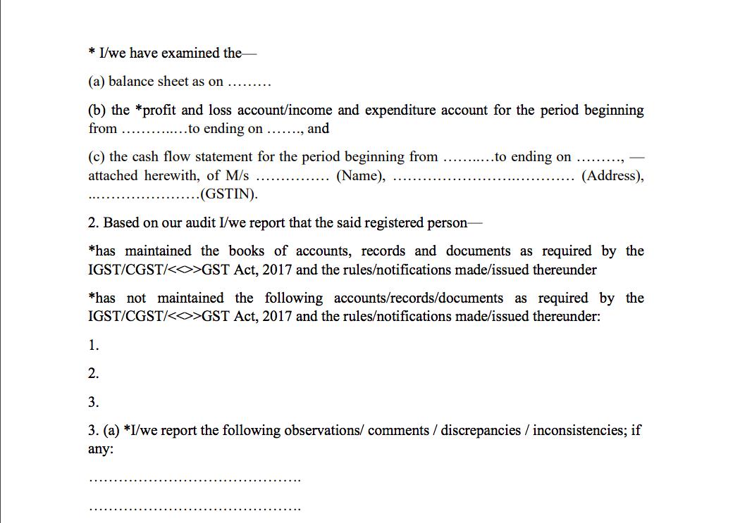 GST Audit certificate 1