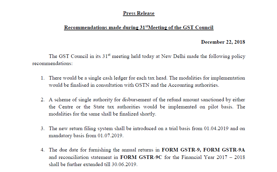 Recommendations made during 31st Meeting of the GST Council