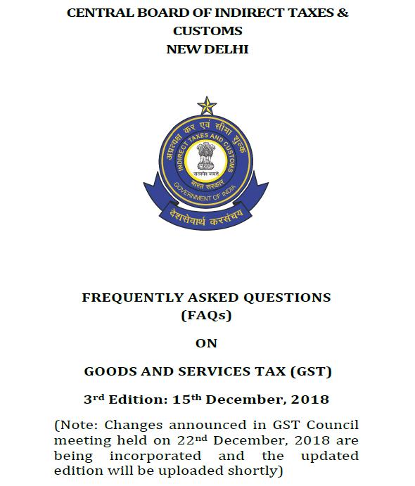 FAQs on GST by CBIC