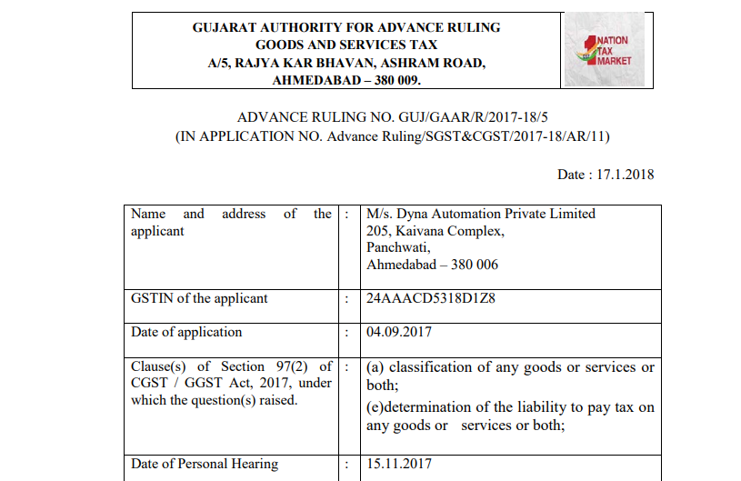 GST AAR of M/s. Dyna Automation Private Limited