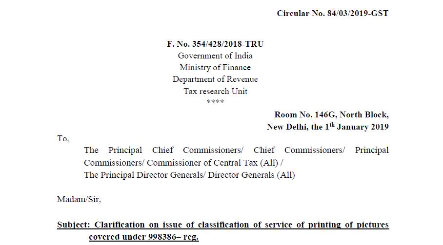 Circular No. 84/03/2019-GST