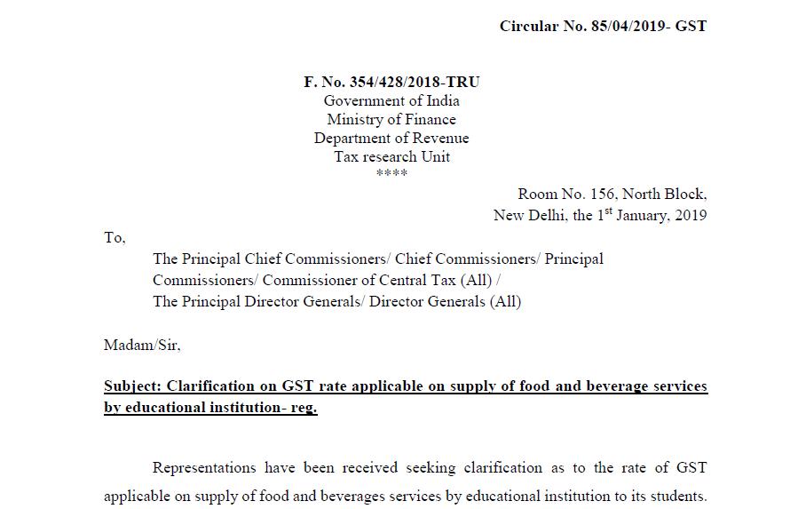 Circular No. 85/04/2019- GST