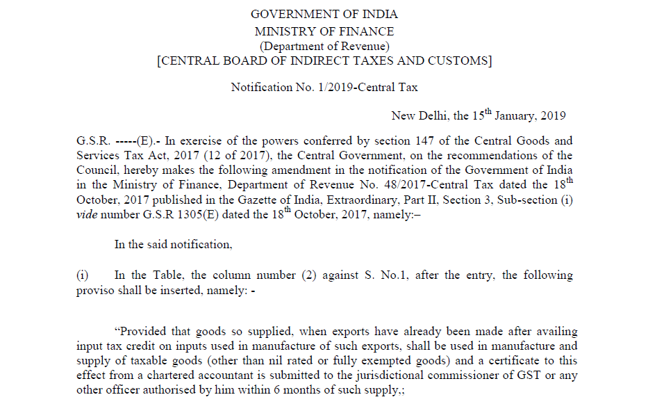 Notification No. 1/2019-Central Tax