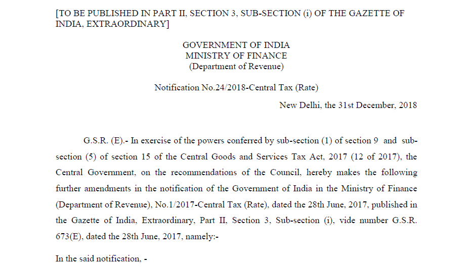 Notification No.24/2018-Central Tax (Rate)