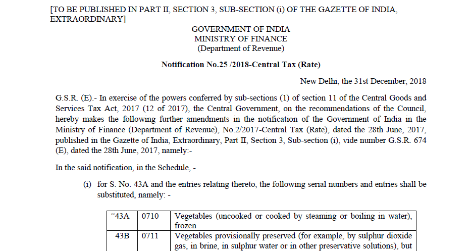 Notification No.25 /2018-Central Tax (Rate)