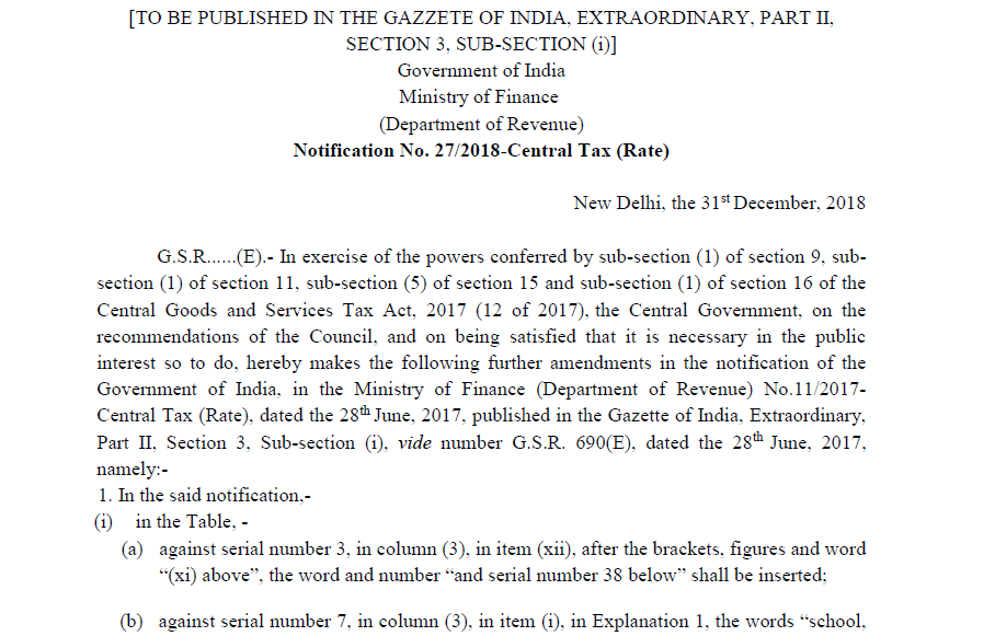Notification No. 27/2018-Central Tax (Rate)