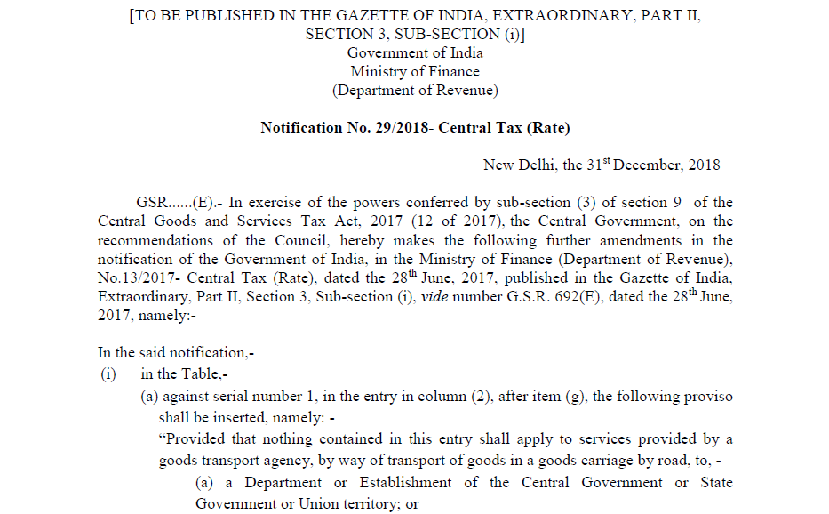 Notification No. 29/2018- Central Tax (Rate)