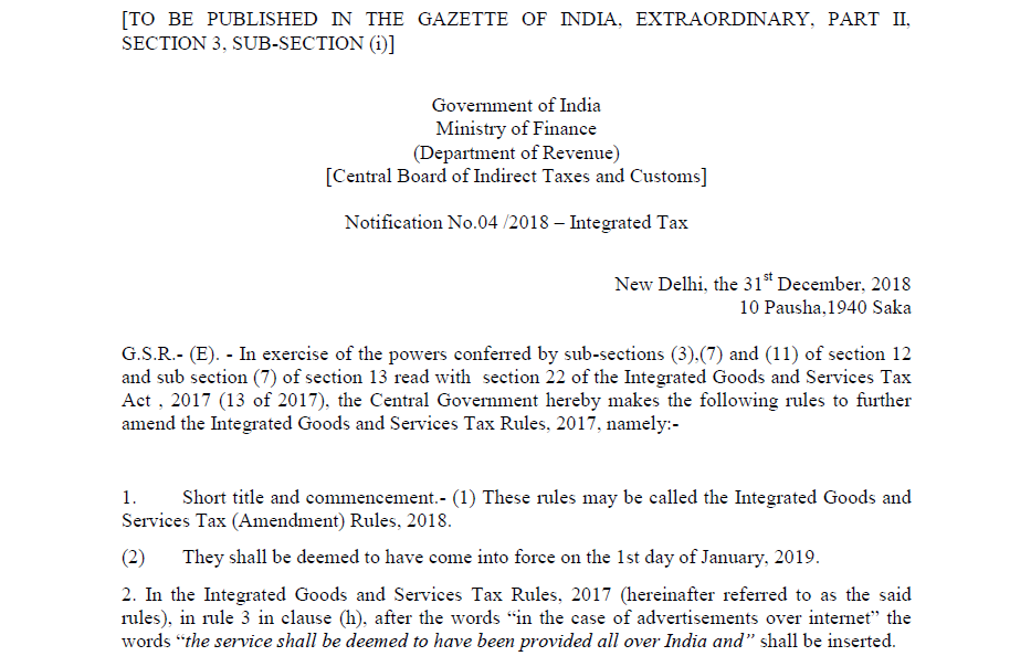 Notification No.04 /2018 – Integrated Tax