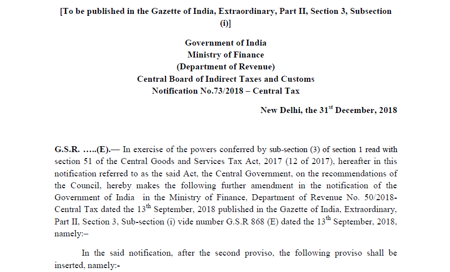 Notification No 73/2018 – Central Tax - CONSULTEASE COM
