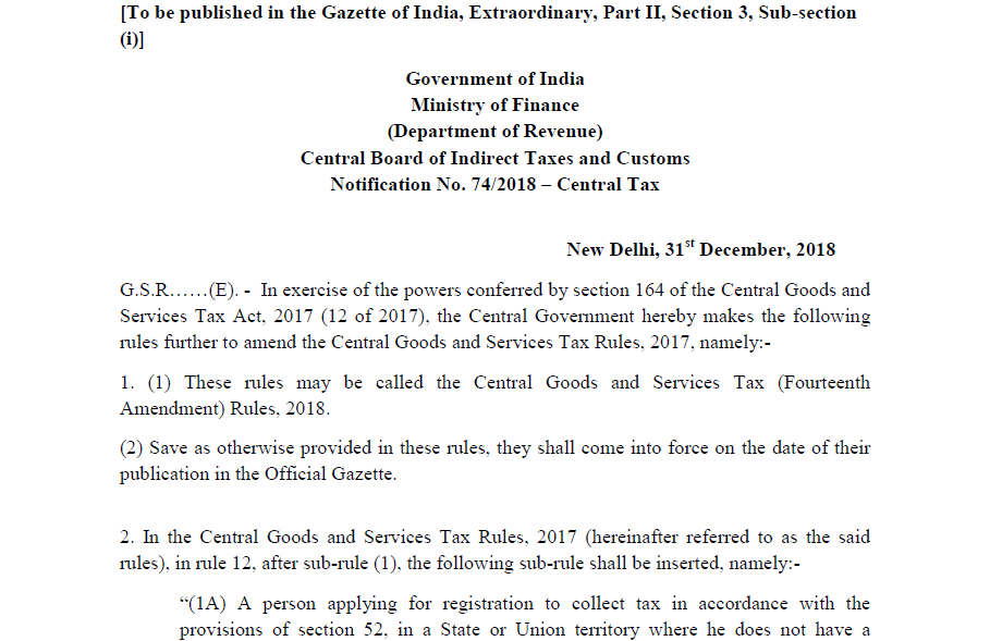 Notification No. 74/2018 – Central Tax