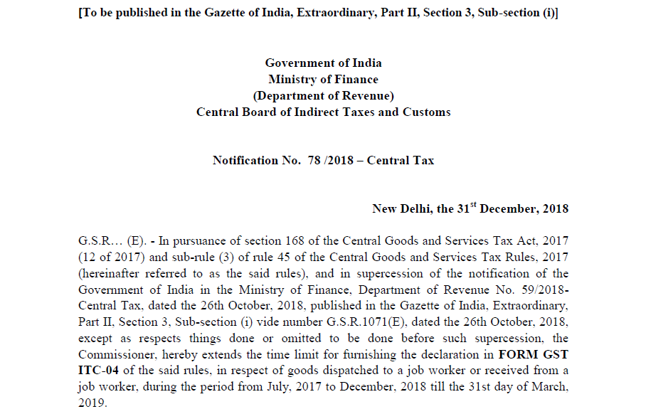 Notification No. 78 /2018 – Central Tax