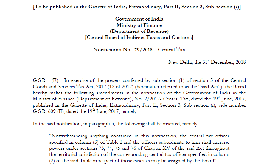 Notification No. 79/2018 – Central Tax