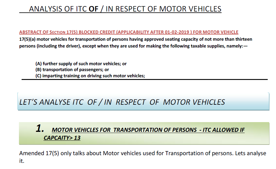 Analysis of ITC of/in respect of Motor vehicles