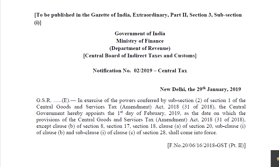 Notification No. 02/2019 – Central Tax