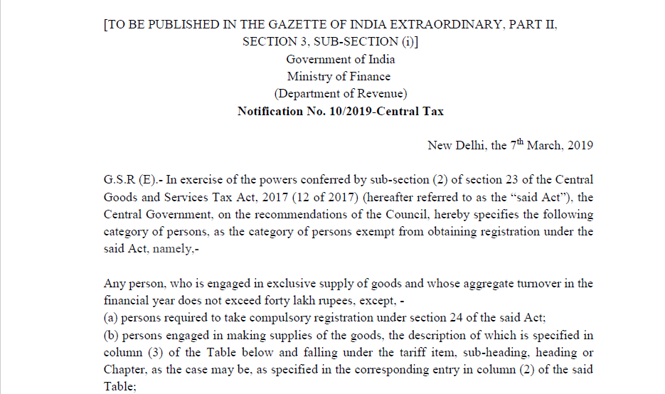 Notification No. 10/2019-Central Tax