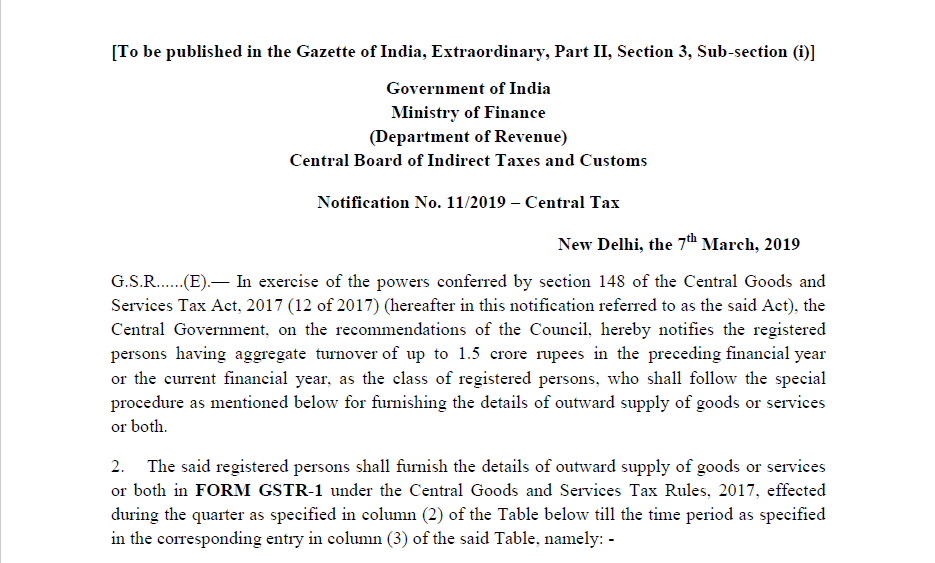 Notification No. 11/2019 – Central Tax