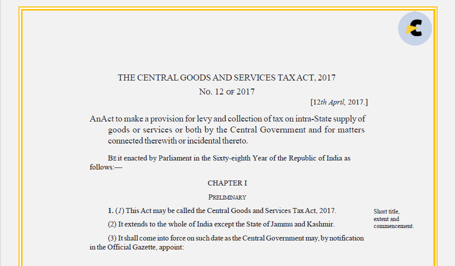 CGST Act PDF with amendments till date