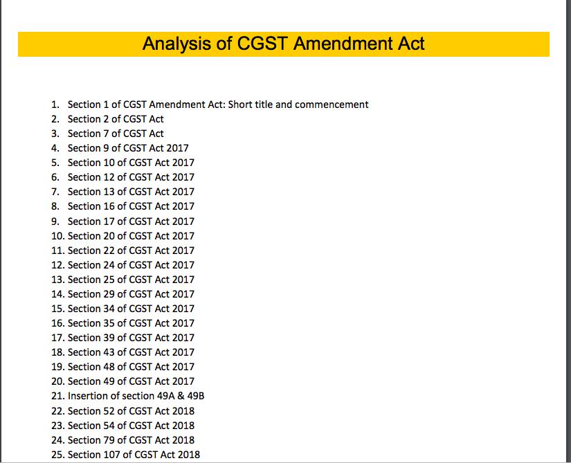 Free E-book for CGST amendment Act