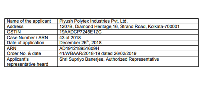 Original copy of GST AAR – Piyush Polytex download pdf