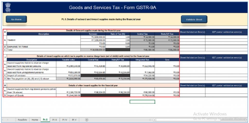 Notes on GSTR 9a
