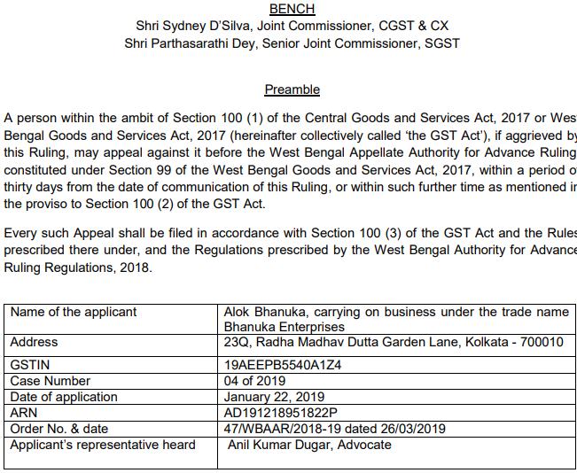 Original copy of GST AAR OF Alok Bhanuka