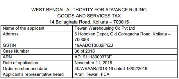 GST OF AAR of Tewari Warehousing Co. Pvt. Ltd.
