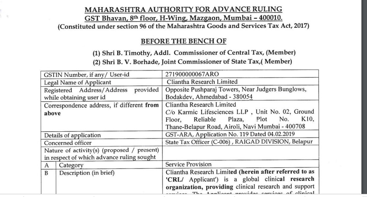 Cliantha research limited advance ruling