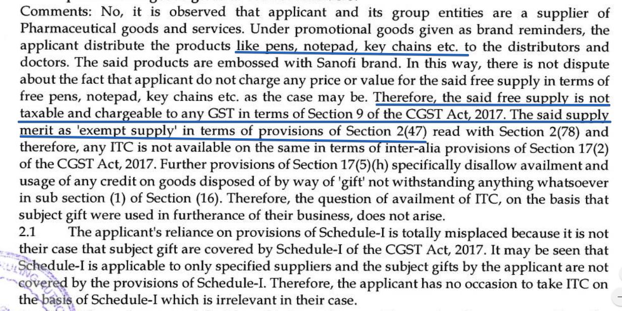 Sanofi Advance ruling on ITC