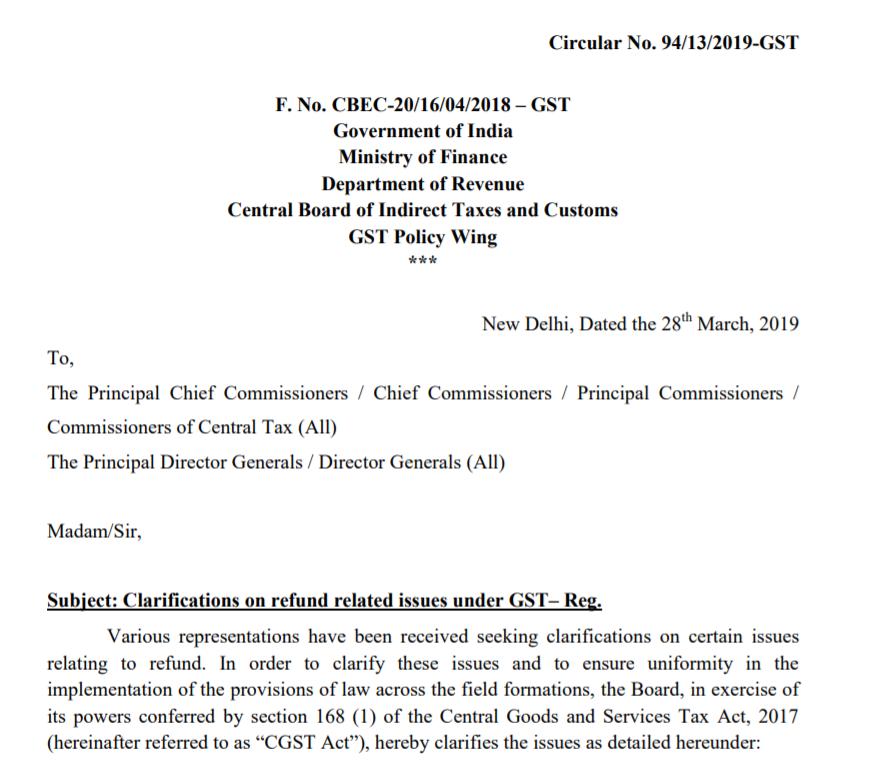 Circular No. 94/13/2019-GST